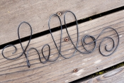 hello wire wall sign