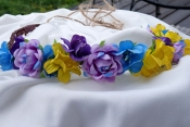 purple and yellow flower crown