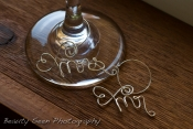 mr mrs wine glass charm