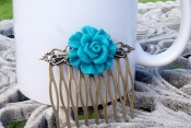 turquoise flower comb