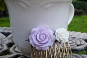 purple white resin flower hair comb