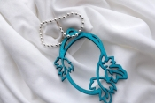 turquoise floral fan pull