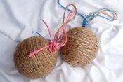 burlap twine ball ornaments